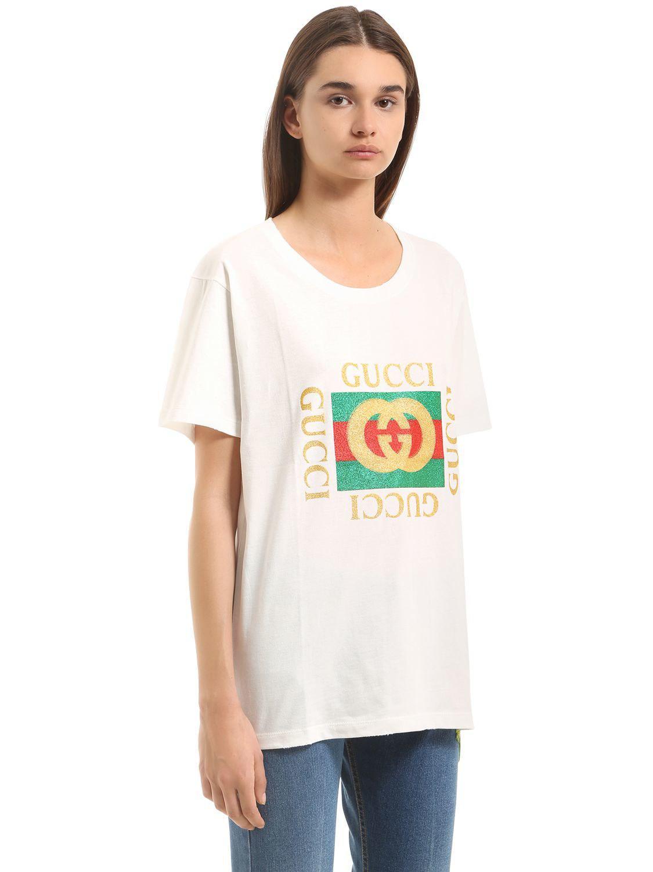 a7bc7ba25 Gucci Glitter Logo Print Cotton Jersey T-shirt in White - Lyst
