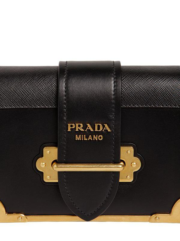 ccc023751f2d ... denmark prada black small cahier leather shoulder bag lyst. view  fullscreen 60f96 2602a