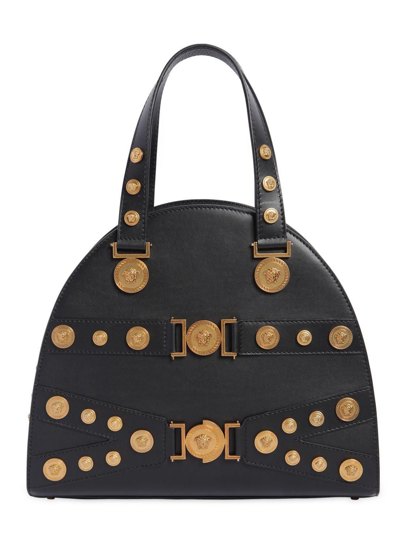 439a166d8f07 Lyst - Versace Black Embellished Medusa Tote in Black - Save 48%