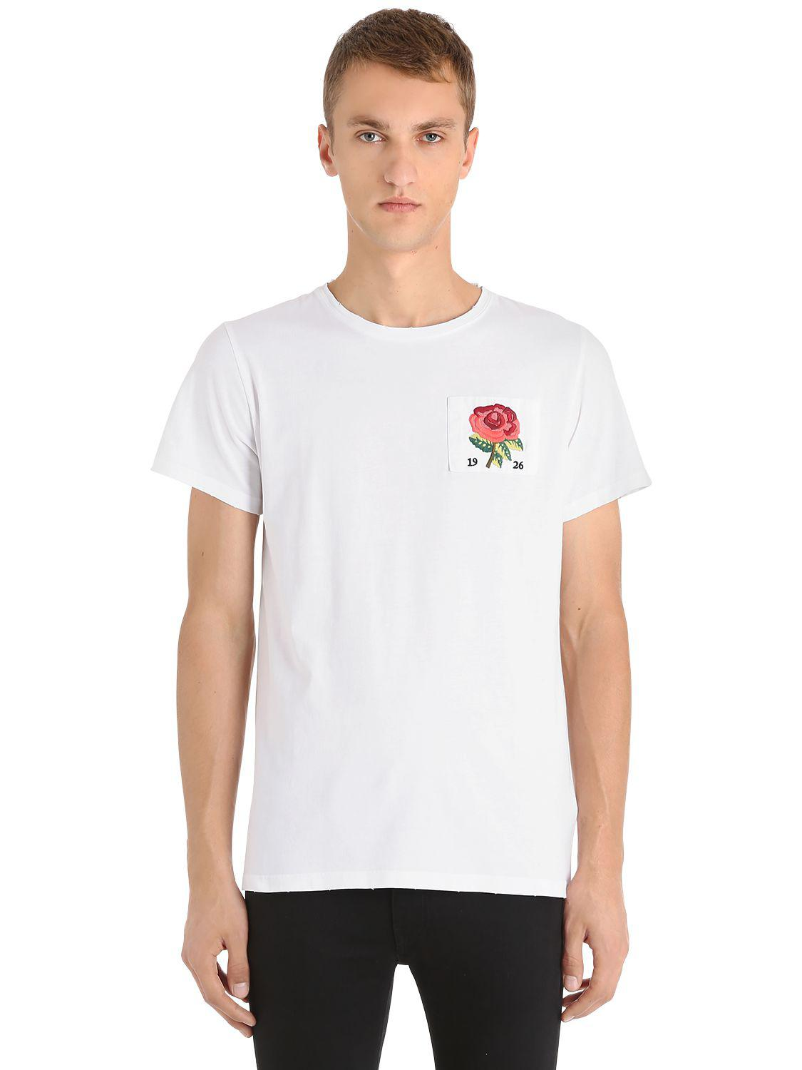 Lyst kent curwen rose patch cotton jersey t shirt in