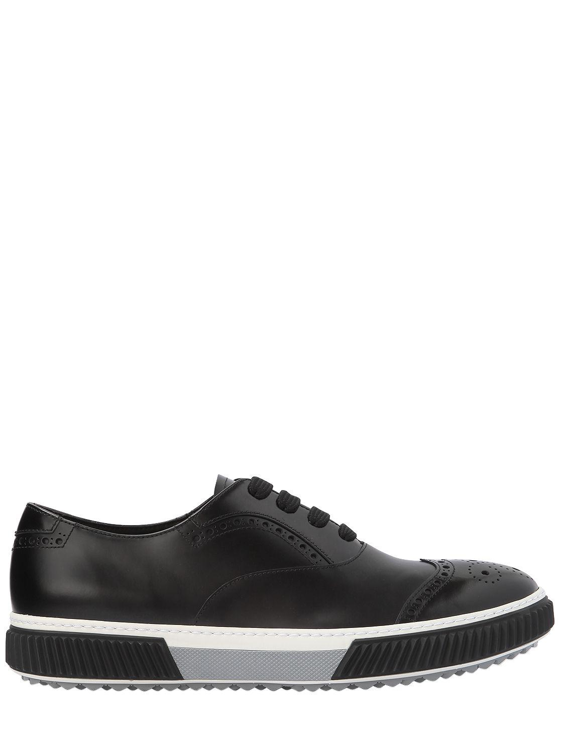 Prada 12MM LEATHER OXFORD LACE-UP SHOES