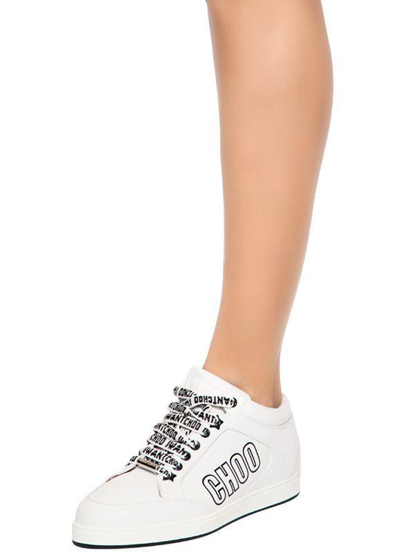7333eeb5ca76 Lyst - Jimmy Choo 20mm I Want Choo Leather Sneakers in White
