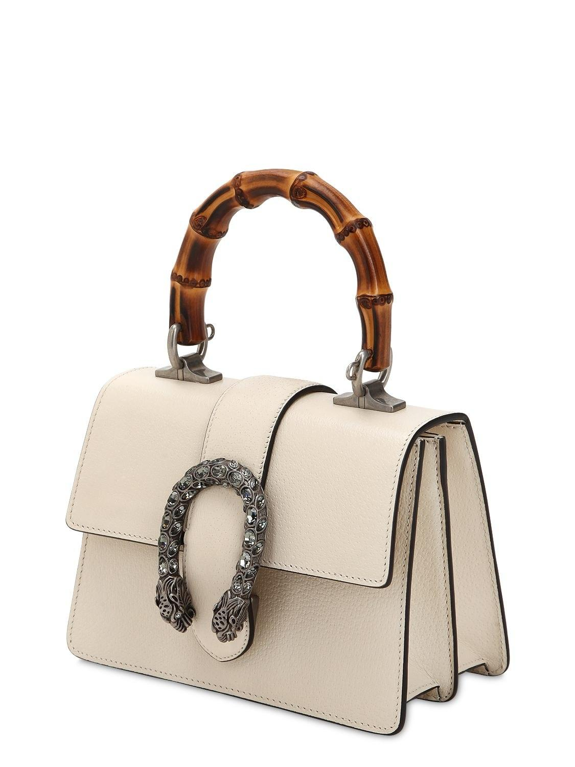 362debf9c8eb Gucci Mini Dionysus Bamboo & Leather Bag in White - Lyst