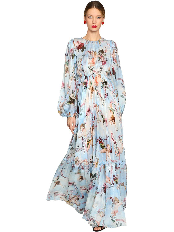 30bf9de0f4 Vestido Largo De Chifón De Seda Estampado Ángeles Dolce   Gabbana de ...