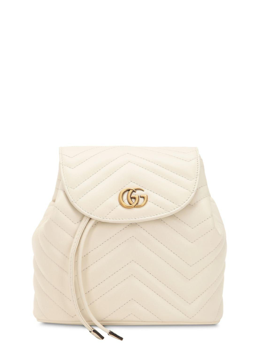 e2dec13b3799 Lyst - Gucci Mini Gg Marmont Leather Backpack in White