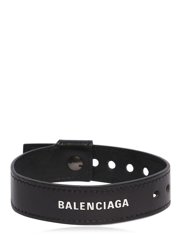 cfdacfdbc2449 Balenciaga - Black Logo-print Leather Bracelet for Men - Lyst. View  fullscreen