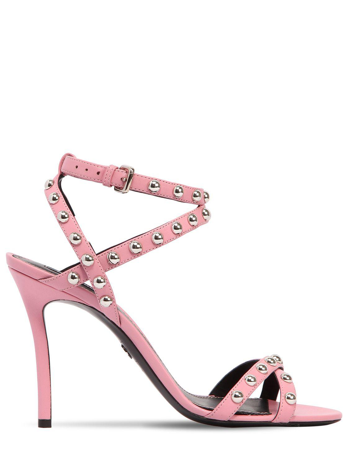 064b893ef06 Lyst - DSquared² 120mm 50 s Rock Studded Leather Sandals in Pink