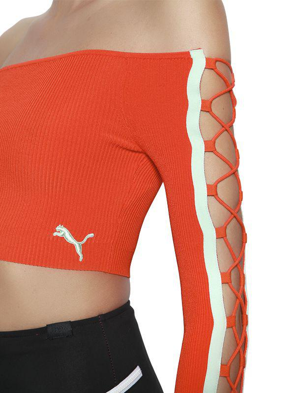 Puma Lace-up Rib Knit Cropped Top in Orange - Lyst 92c43ec8b8660