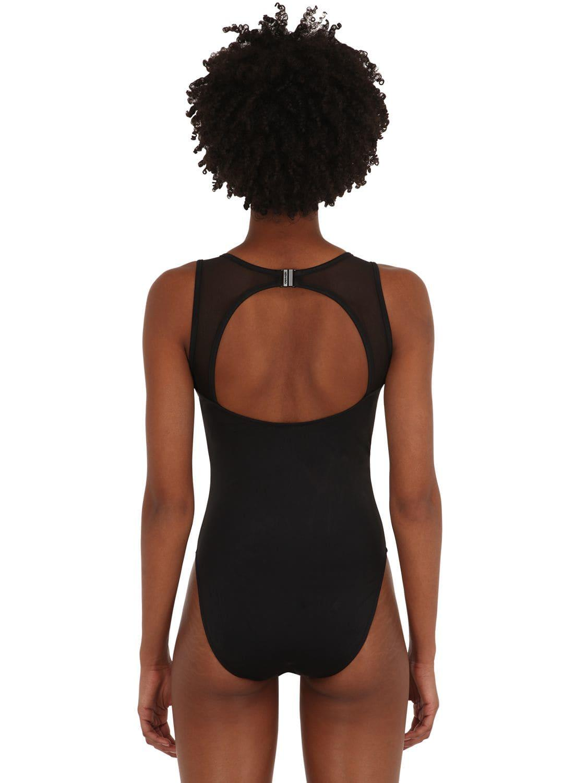 1fcfcf5af2783 Calvin Klein - Black Deep V Mesh One Piece Swimsuit - Lyst. View fullscreen