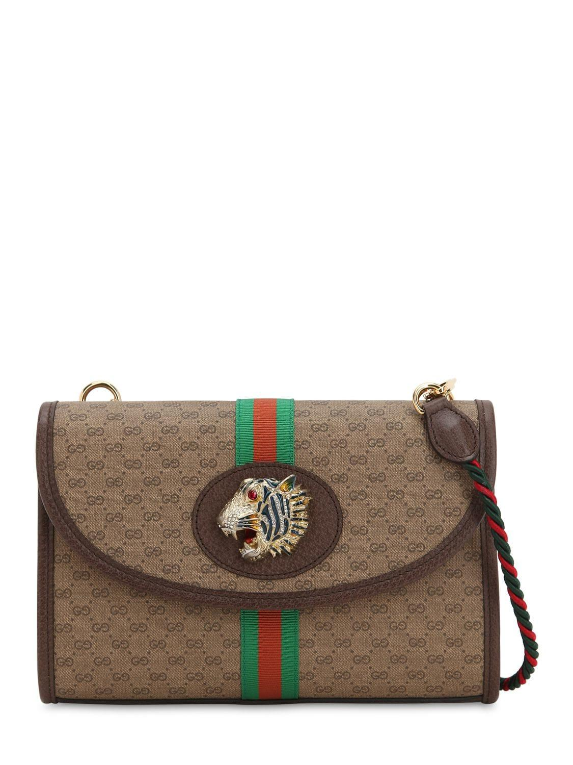 aefd76b757 Gucci Tiger Rajah Gg Supreme Leather Bag in Natural - Lyst