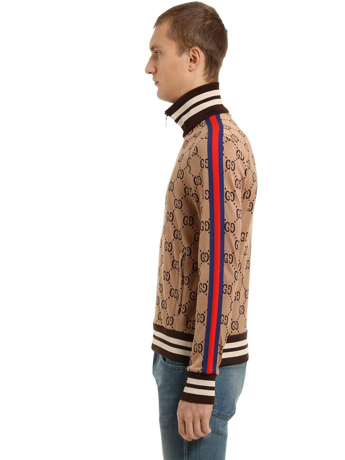 Lyst Gucci Gg Zipped Jacquard Track Jacket In Brown For Men