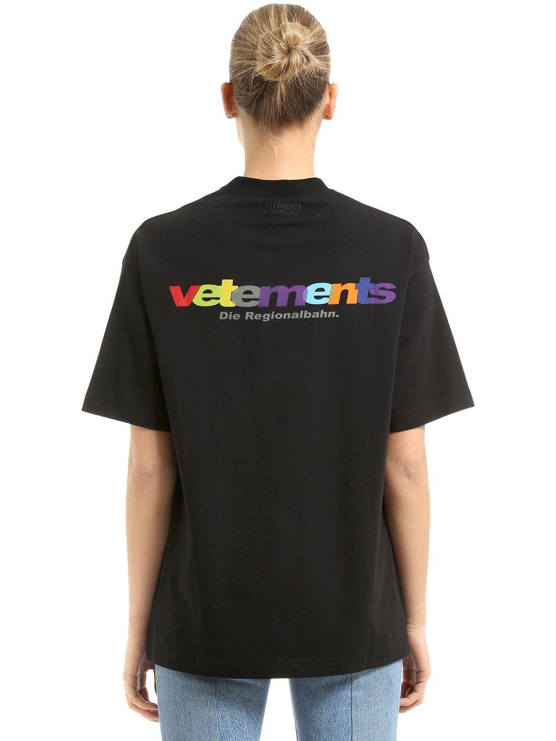 lyst vetements t shirt in jersey di cotone in black. Black Bedroom Furniture Sets. Home Design Ideas