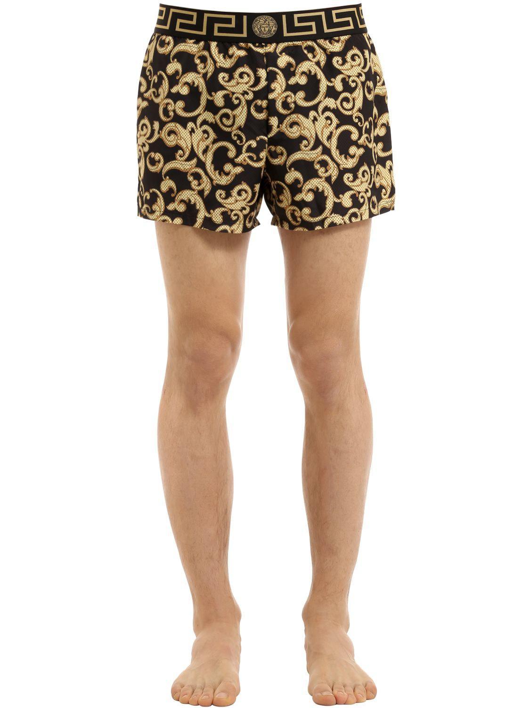044340a72a Versace Baroque Nylon Swim Shorts in Black for Men - Lyst