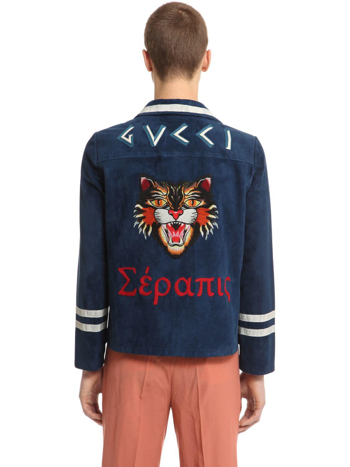 54932eaa0 Gucci Military Suede Shirt Jacket in Blue for Men - Lyst