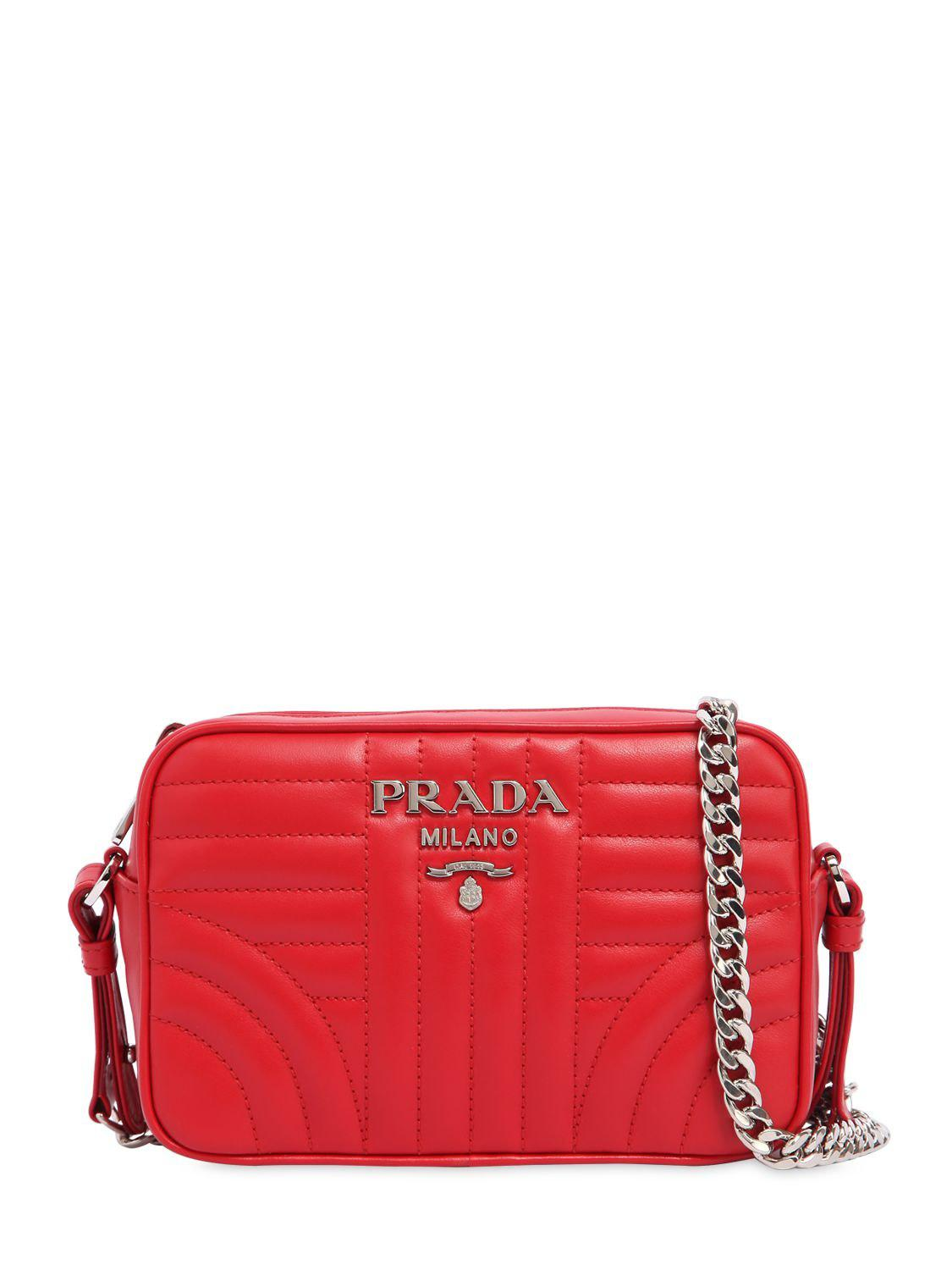 3868b55f8e808e Prada - Red Small Quilted Soft Leather Camera Bag - Lyst. View fullscreen