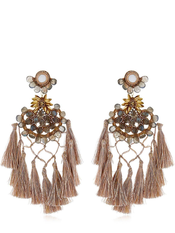 Clearance Find Great Shop For Sale Online embellished drop earring - Metallic Deepa Gurnani Cheap Price Pre Order Fashionable Sale Online wECZisKbTI