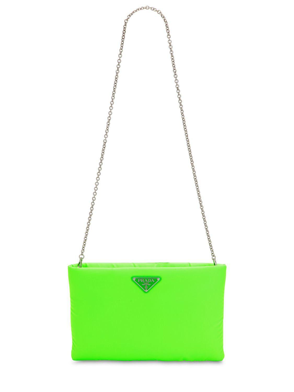 864602f6cb26ae Prada Medium Puffer Nylon Clutch in Green - Lyst