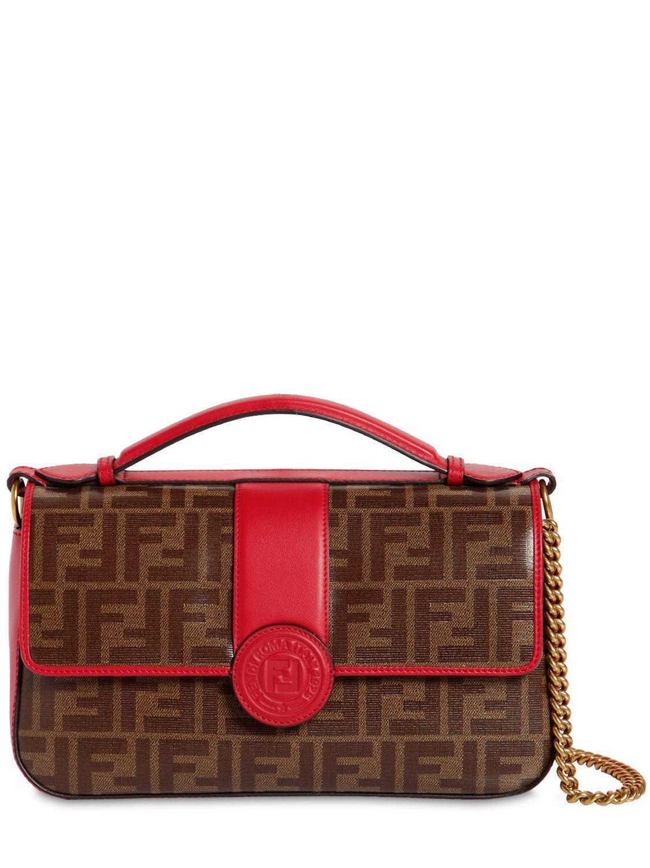 b9d58f23f1dc Fendi Double Ff Baguette Leather Shoulder Bag in Red - Lyst