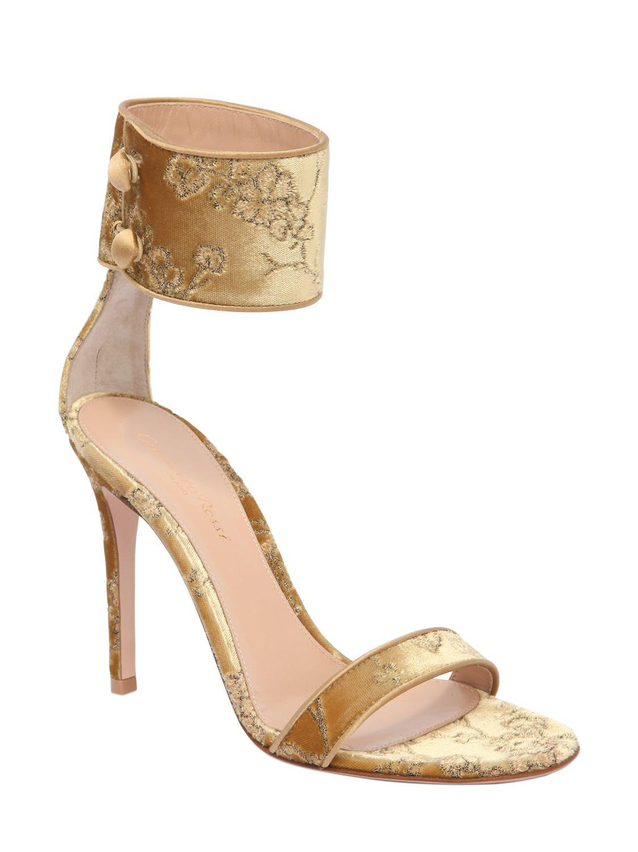 de5d6c9f34e Gianvito Rossi 105mm Shanghai Embroidery Velvet Sandals in Metallic - Lyst