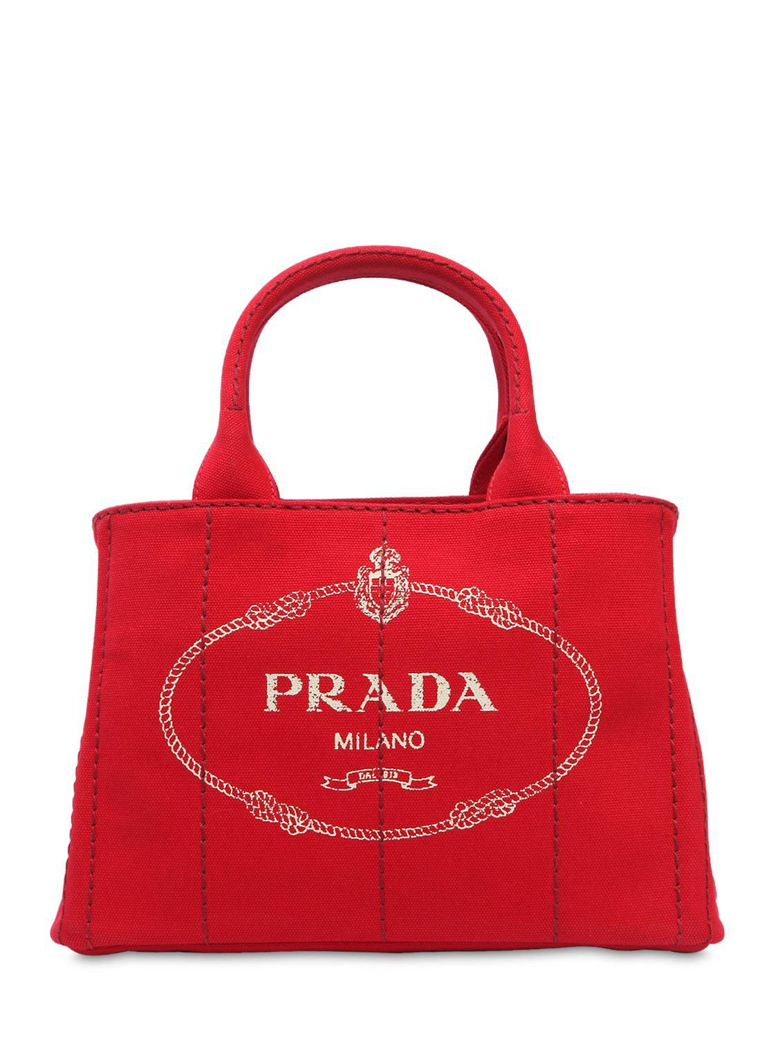 05ce12aeb629 Lyst - Prada Logo Printed Canvas Tote Bag in Red - Save 40%