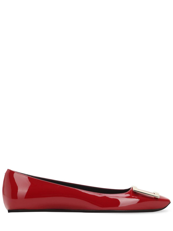 e2e172fb32dfa Lyst - Roger Vivier 10mm Trompette Patent Leather Flats in Red