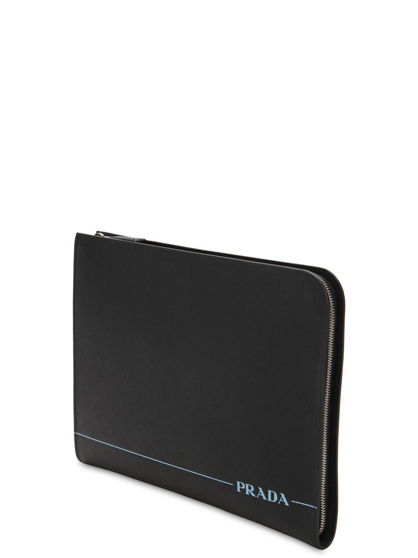 e6d7b8c226f7db Lyst - Prada Logo Saffiano Leather Pouch in Black for Men
