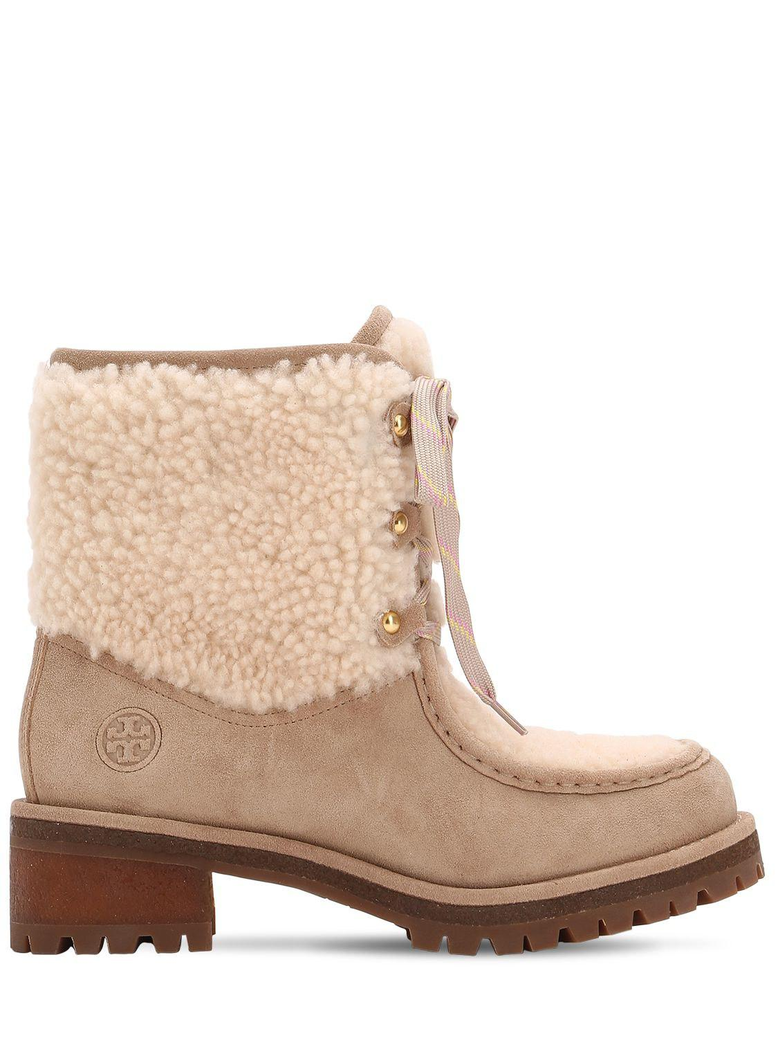 23b4e8daf Tory Burch 60mm Meadow Suede   Shearling Boots in Natural - Lyst