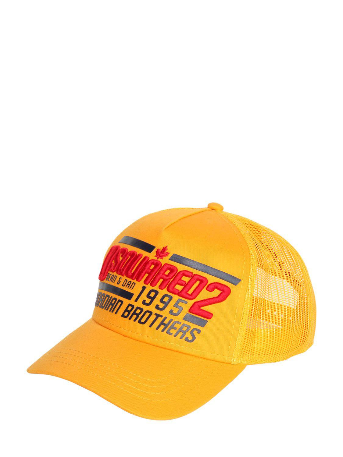 8c88603f DSquared² - Yellow 1995 Brothers Canvas & Mesh Trucker Hat for Men - Lyst.  View fullscreen