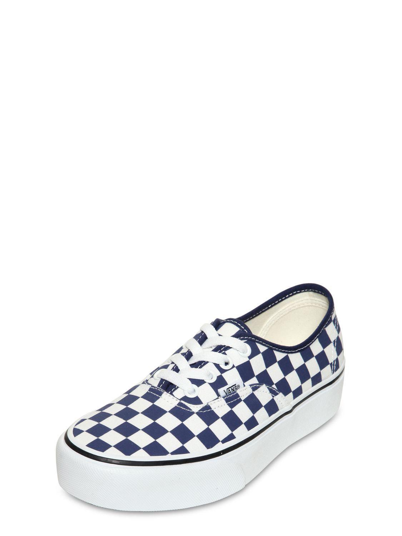 9a5e491ca0 Vans - Blue Authentic Platform Checkered Sneakers - Lyst. View fullscreen