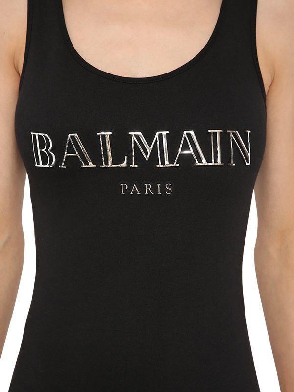 749d4ba468eede Lyst - Balmain Logo Printed Bodysuit in Black - Save 25%