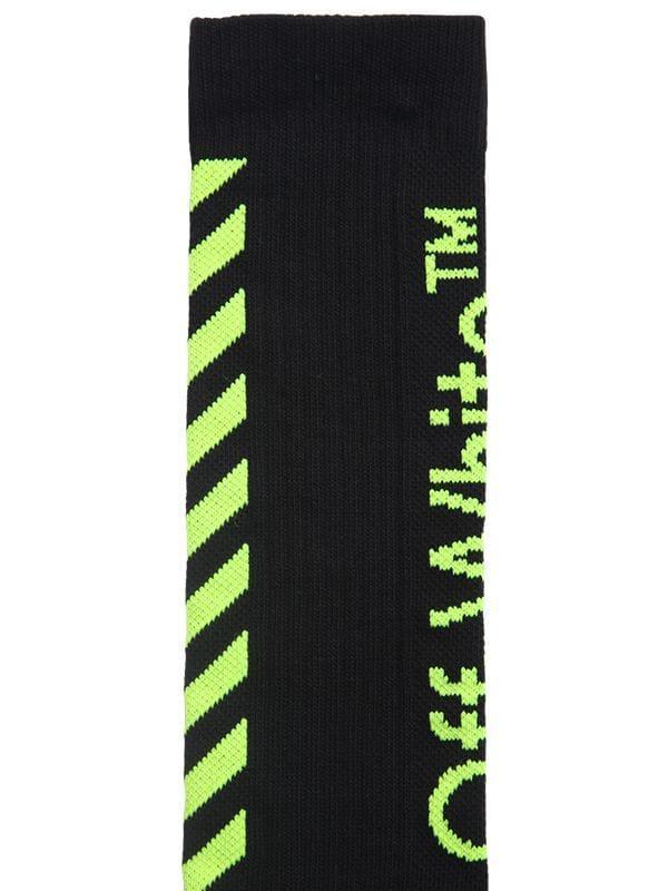 0b671ecd6526 Off-White c o Virgil Abloh - Black Diagonal Logo Cotton Blend Socks for.  View fullscreen