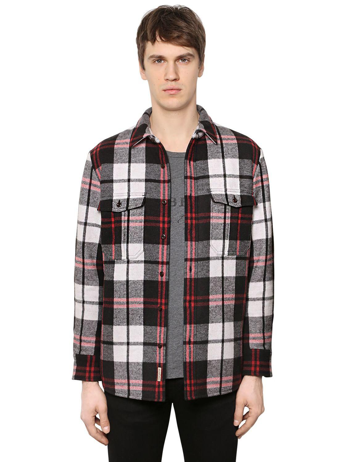 Lyst burberry padded check wool flannel shirt for men for Mens wool flannel shirt