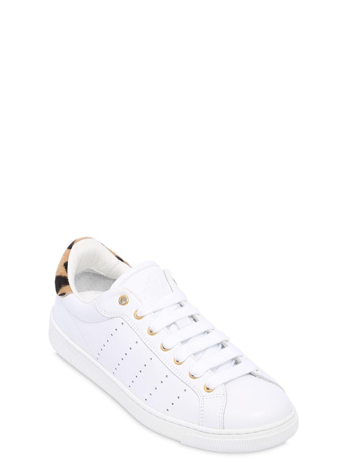 Dsquared2 10MM LEATHER SNEAKERS W/ LEOPARD DETAIL