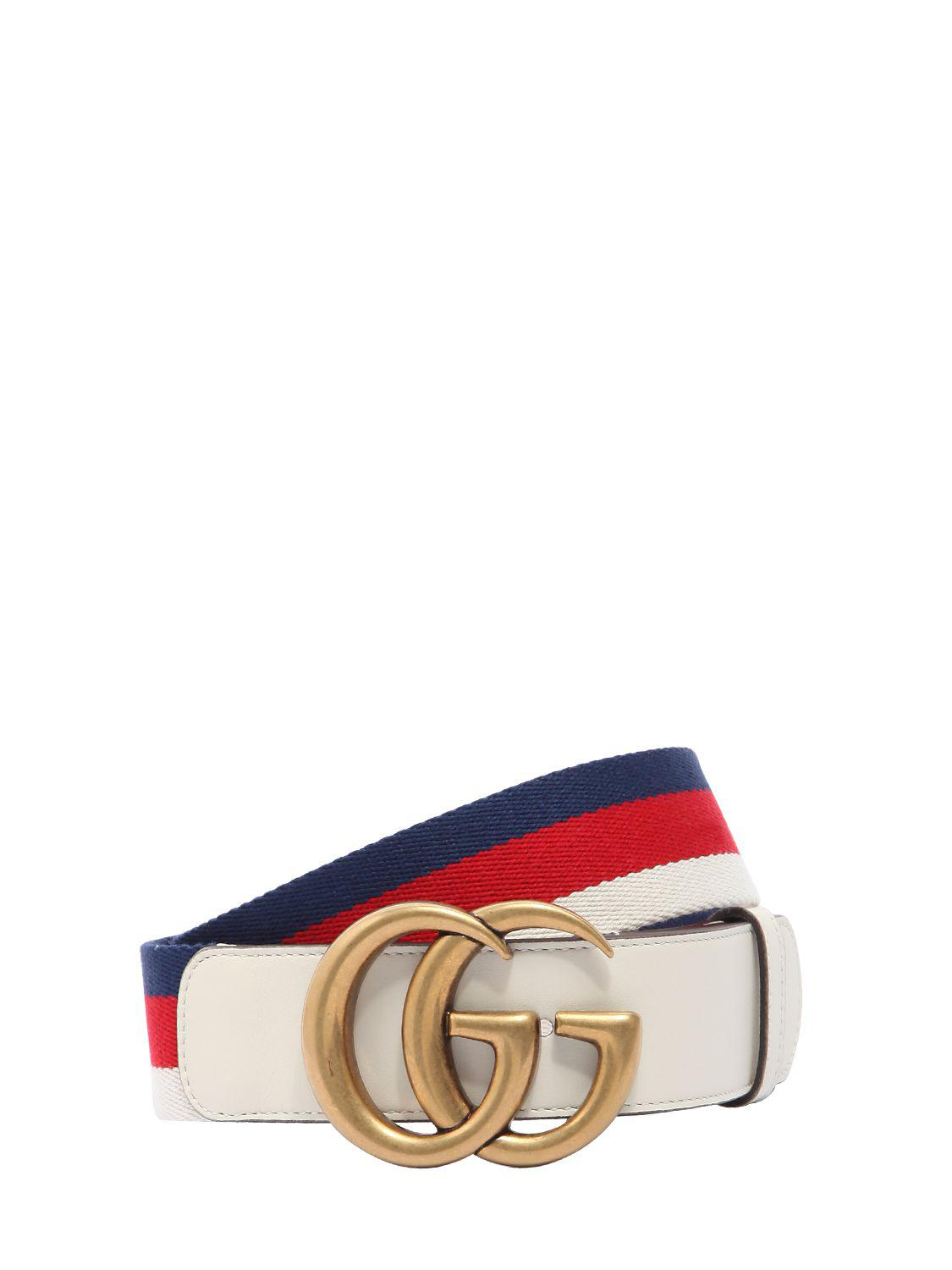 8747a2b4e Gucci 40mm Gg Marmont Web & Leather Belt in Blue - Lyst