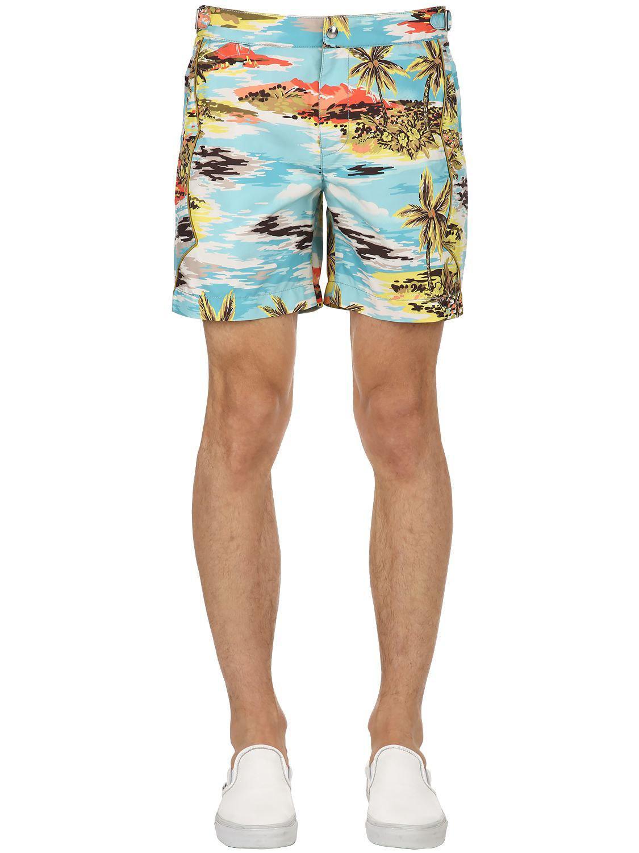 f76b6483dc4 COACH. Short De Bain Style Western Imprimé Hawaïen homme de coloris bleu