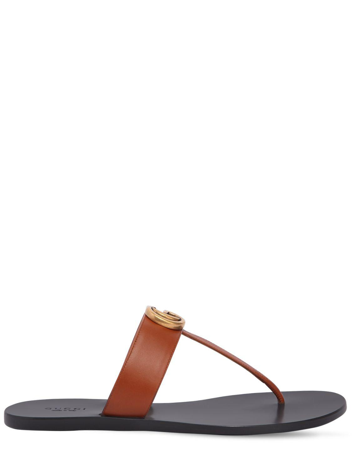 a44dabf5cc82 Gucci 10mm Marmont Leather Thong Sandals - Lyst