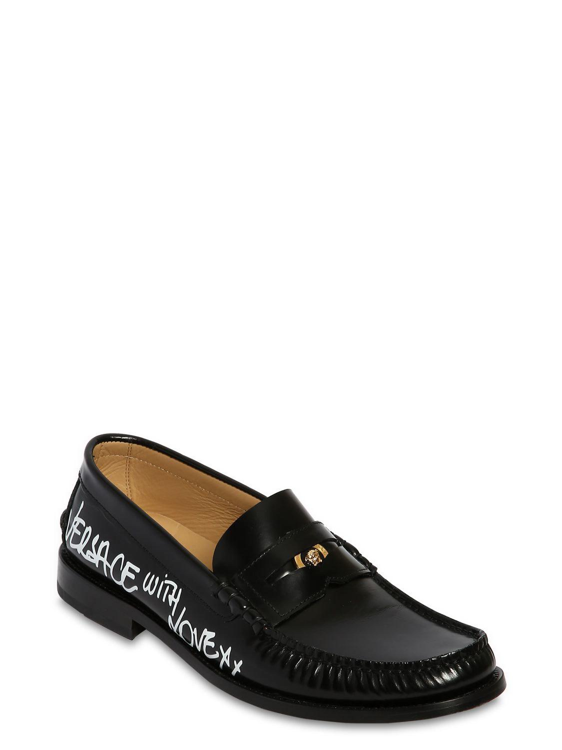 a501f9032b2 Lyst - Versace Leather Loafers W  Graffiti Printed Logo in Black for Men