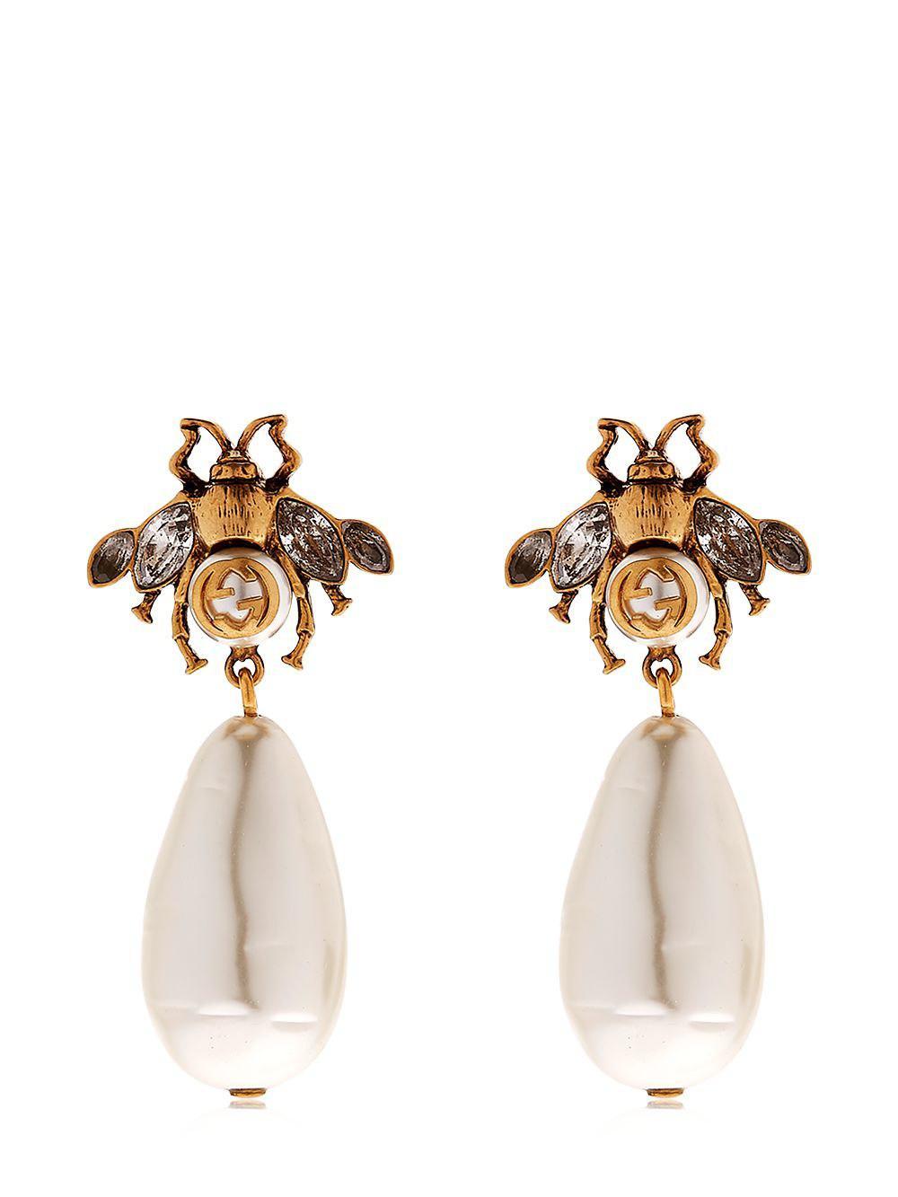 4d0ae1e4b63 Lyst - Gucci Bee Imitation Pearl Earrings in Metallic