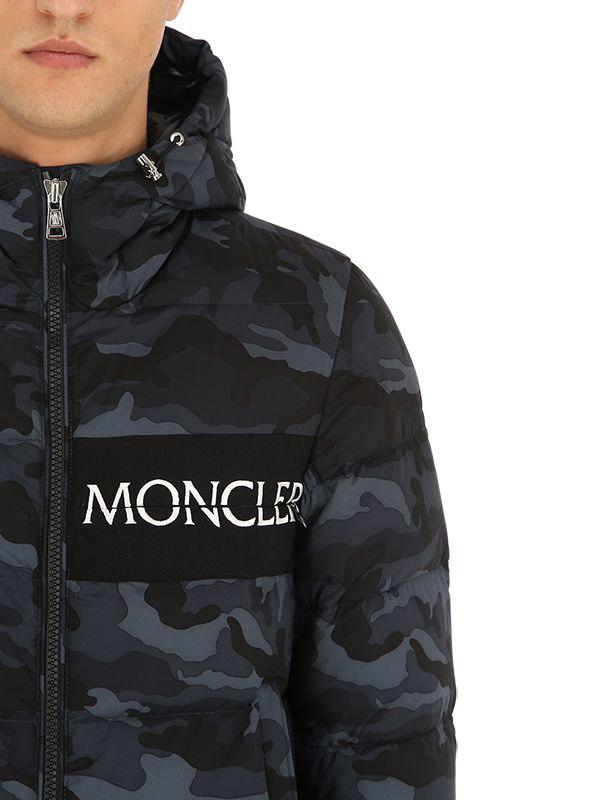 97d5d189facfd Moncler Aiton Camo Nylon Down Jacket in Black for Men - Lyst