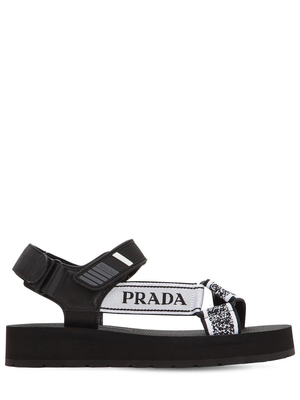 7d7c35ce93b56 Prada - Black 40mm Logo Nylon Trekking Sandals - Lyst. View fullscreen