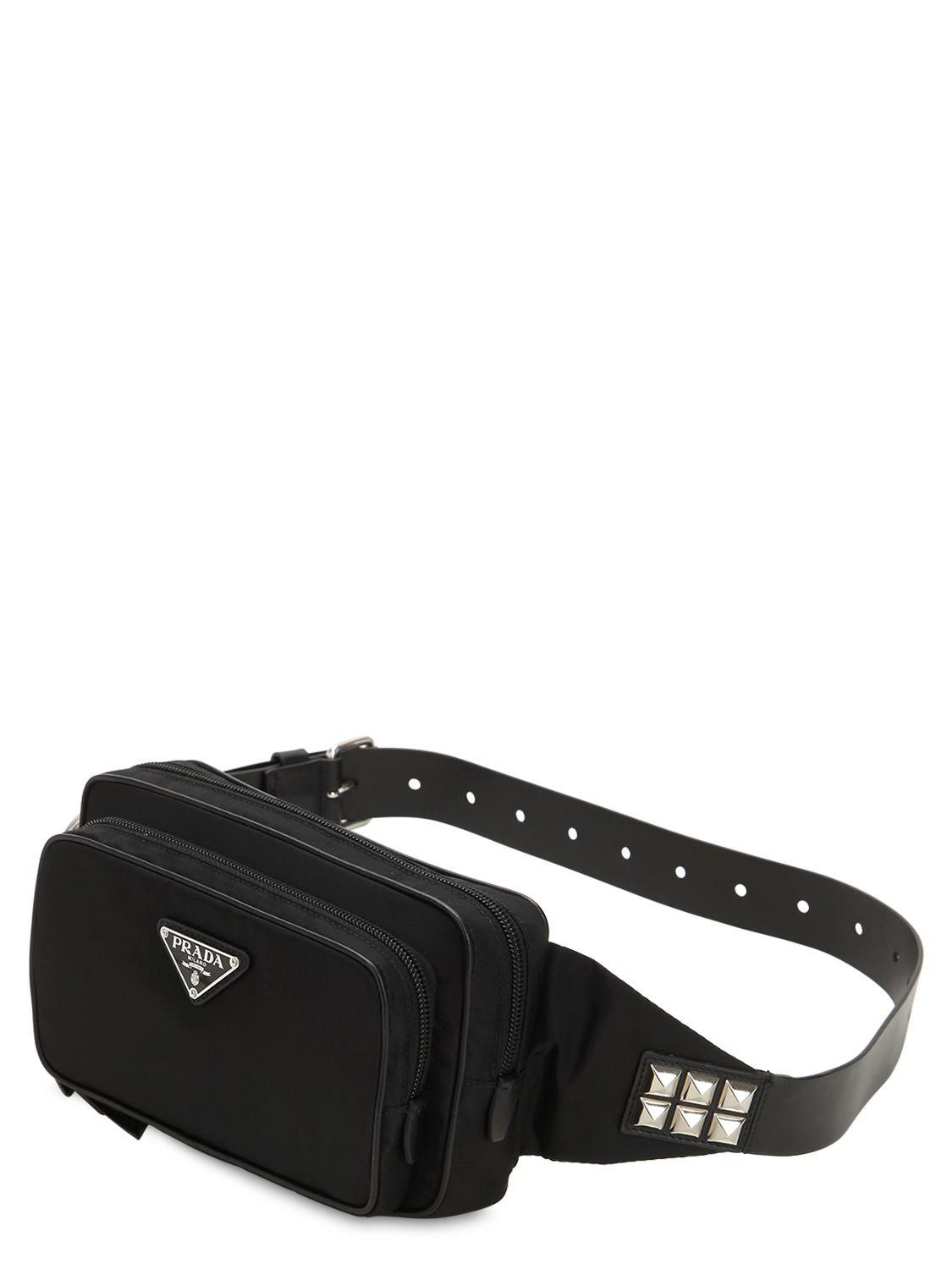 fe0b3a3f9770 Lyst - Prada New Vela Nylon Belt Bag W  Studs in Black