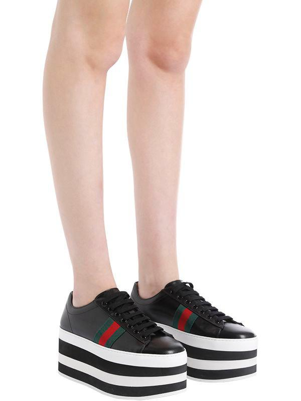 69c33b75fdd Lyst - Gucci 55mm Peggy Leather Platform Sneakers in Black