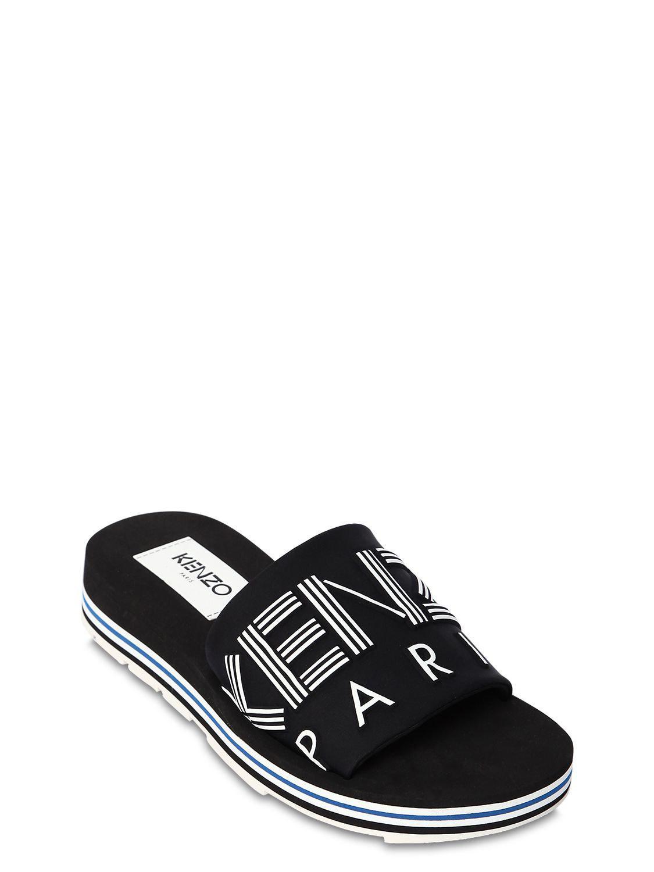 c6a63e57e KENZO 30mm Papaya Logo Neoprene Slides in Black - Save 12% - Lyst