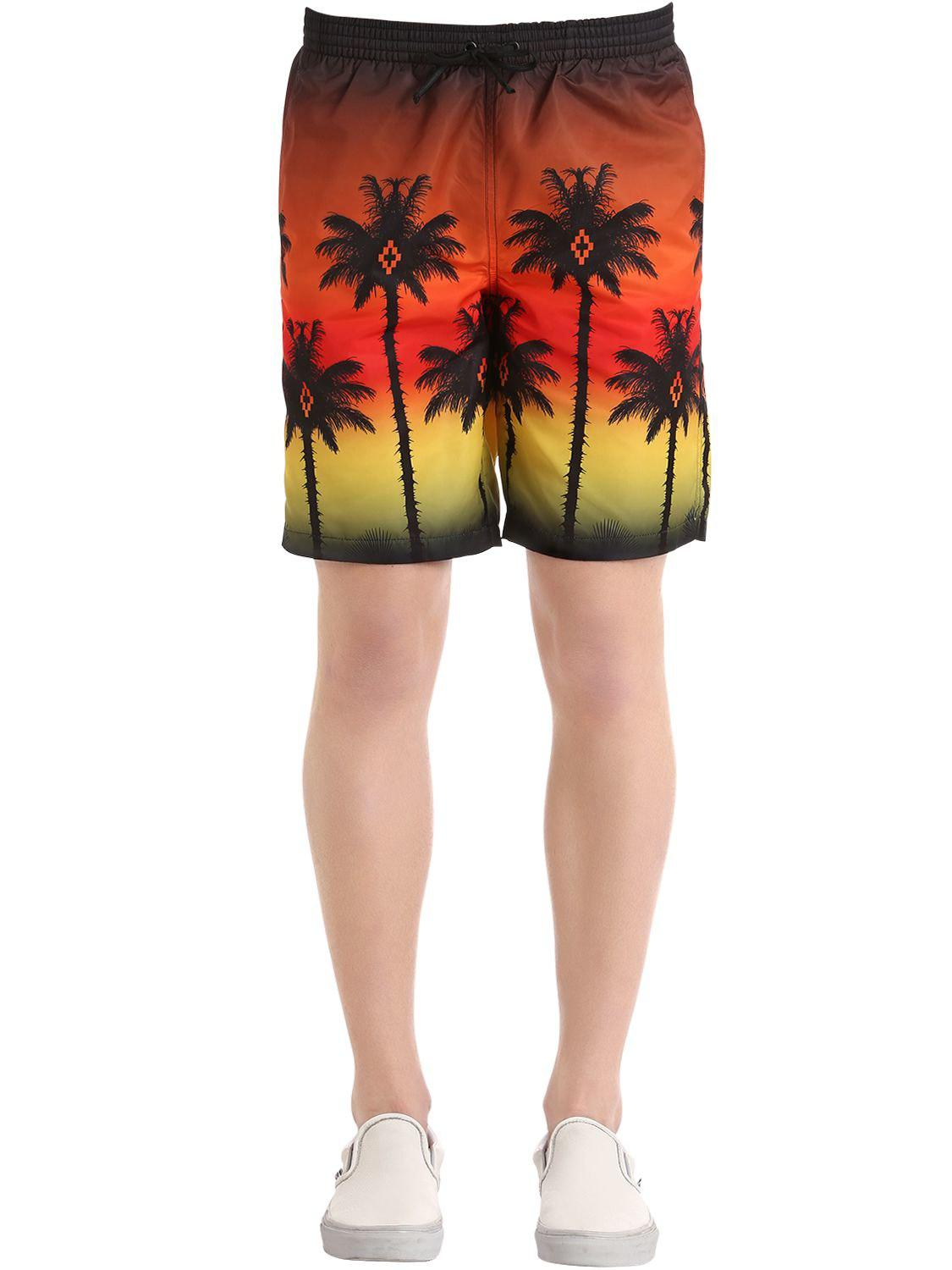 9a72b627d6 Marcelo Burlon Red Palm Printed Swim Shorts in Red for Men - Lyst
