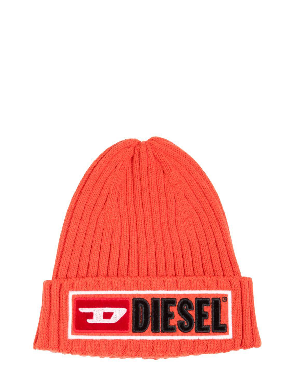 9a88b87c614 Lyst - DIESEL Logo Wool   Cotton Knit Beanie Hat in Orange for Men ...