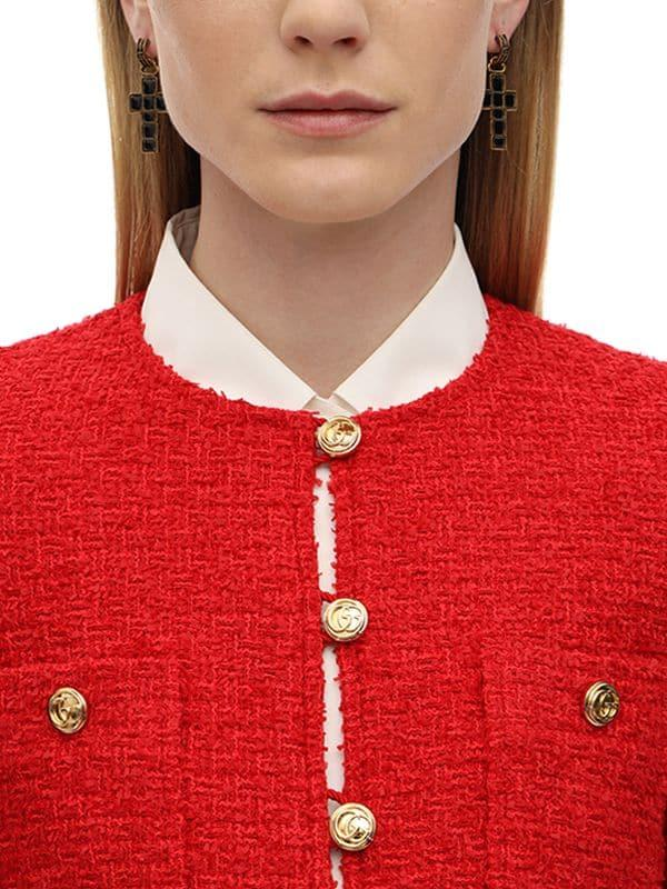 be0b20852 Gucci Belted Cotton Blend Bouclé Jacket in Red - Lyst