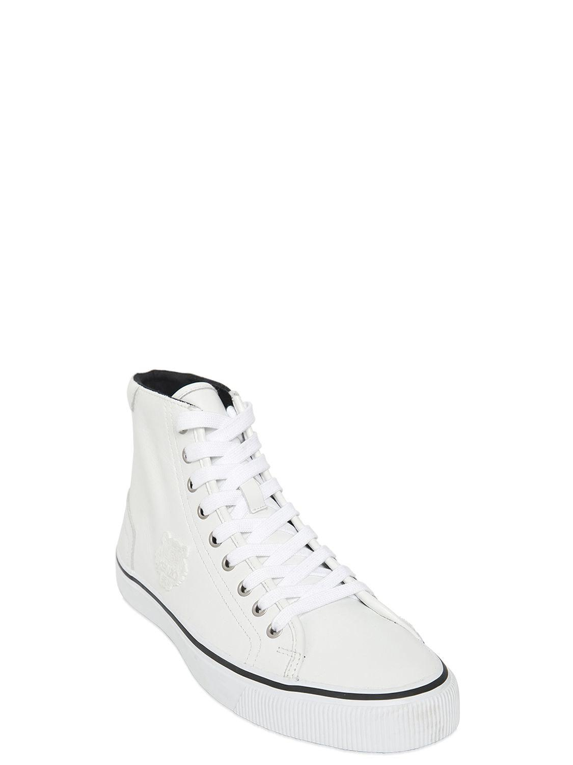 Kenzo TIGER PATCH LEATHER HIGH TOP SNEAKERS MbMsq9avKS