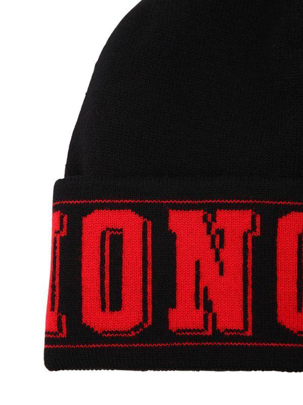 150bf7f2b11 Moncler - Black Logo Knit Beanie Hat for Men - Lyst. View fullscreen