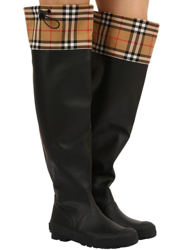 b7f944dae5 Lyst - Burberry 20mm Freddy Rubber & Check Boots in Black