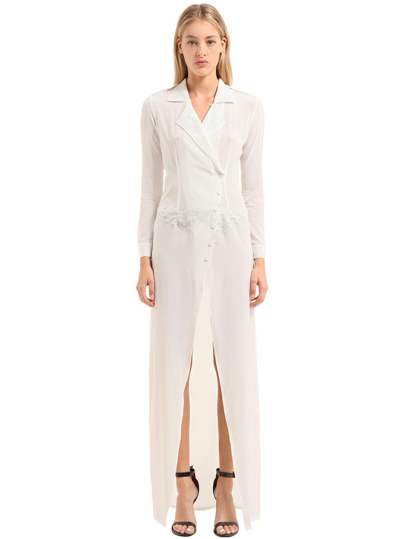 Lyst - La Perla Silk Satin & Lace Dressing Gown in White